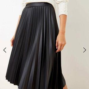 NWT loft faux leather pleated midi skirt